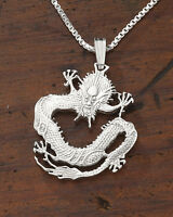 """Sterling Silver Chinese Dragon Pendant, Hand Cut Dragon Coin, 1"""" Dia., ( # 72S )"""