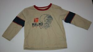 Used Hanna Andersson Boys 3 year 90 cm Long Sleeve Top Shirt Tan Malmo Fotball