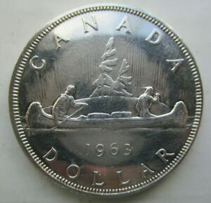 1963 SILVER .800 CANADA CANOE DOLLAR