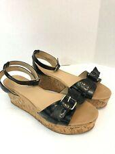 a8ccd0db42 Aldo Womens Black Sandals Size 11 Cork Platform Buckle Ankle Strap Open Toe