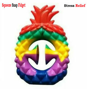 Snapper Squeeze Snap Fidget Toy Sensory Tool Autism Hand Strength Grip PINEAPPLE