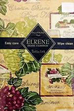 Various Sizes Wine and Grapes Vinyl / Flannel Backed Tablecloth By ELRENE