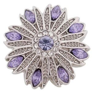 Antiqued Silver Purple Rhinestone Flower 20mm Snap For Ginger Snaps Jewelry