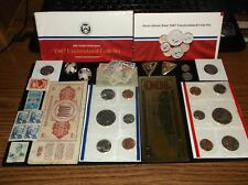 Junk Drawer Coin Lot+Half Dollars+Old Stamps+Old Banknote+Earrings+Gold Foil