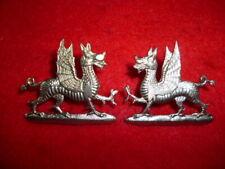 "The Welsh Regiment Collar Badge Pair, White Metal ""Welsh Dragons"""