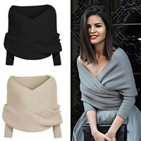 Sexy Women Off Shoulder V Neck Long Sleeve Loose Knitted Sweater Jumper Tops bes