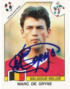 Marc de Gryse  Belgien  WM 1990 Panini Sticker signiert 405918
