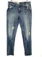 Volcom Womens On The Road Slim Slouch Jeans Size W27 L30 Blue Distressed