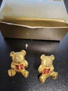 NIB VTG Avon Front Back Teddy Bear Pierced Earrings w red bow Surgical steel