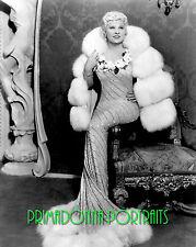 MAE WEST 8x10 Lab Photo 1930s Shimmering Fur Lined Gown, Fur Coat Portrait