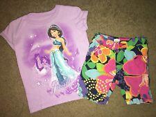 Lot of 2 Girls Disney Princess Jasmine Top + Carters Floral Bermuda Shorts 2T