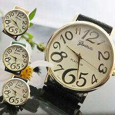 Ladies Fashion Gold Geneva Platinum Quartz Cream Faced Leather Band Wrist Watch.