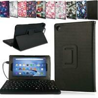 For Amazon Fire HD 8 With Alexa - Leather Stand Cover Case + Micro USB Keyboard