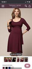 Tiffany Rose Dress Breastfeeding Nursing Maternity UK14-16 Burgundy BNWT RRP £99