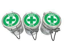 3 Glass Storage Stash Jars First Aid Container Wire Top Lid Air Tight Seal Jar