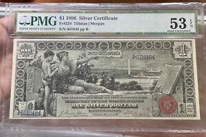 1896 Educational Silver Certificate $1 Tillman Morgan Fr#224 PMG AU 53 RARE
