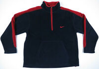Vintage 80s 90s Nike 1/2 Zip Navy Blue Red Swoosh Fleece Mens Pullover Jacket L