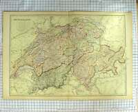 Original Old Antique Print Map C1790-C1900 Switzerland Lake Geneve 18th Century