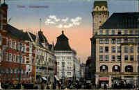 Essen Color AK 1923 datiert Blick in die Kettwiger Straße Geschäfte Leute Tram