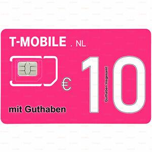 T-Mobile NL SIM Prepaid 10€ Guthaben Niederlande Einsatzbereit Gebrauchsfertig
