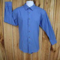 Nordstrom Dress Shirt Mens 17 x 32/33 Blue 100% Cotton Non-Iron Trim Fit CLASSIC