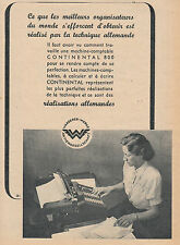 """Publicité Ancienne """" Machine à écrire Continental  Wanderer  -1943 """" ( P. 22 )"""