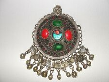 Kuchi Alpaca Silver Pendant, Middle Eastern Vintage with Dangles, green/ inlays
