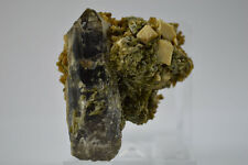 Morion quartz epidote stilbite microcline Striegau Poland Strzegom crystal smoky