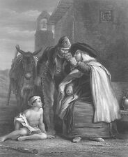 Spain, PRIEST GIVES WINE TO Spanish Guerilla SOLDIER ~ 1861 Art Print Engraving