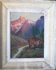 HUILE SUR PANNEAU-MONT VISO-ITALIE-QUEYRAS-SIGNATURE-RIVIERE-MONTAGNE-1950-