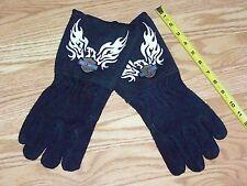 HARLEY DAVIDSON MOTORCYCLES Black Leather Gauntlet Welder Gloves Riding Insulate