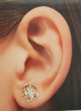 .10 CT 14k Rose Gold 8 mm Flower Rose Stud Earrings 1.4 gr Push Back Women