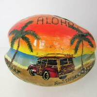 Maui Hawaii Souvenir Painted Coconut Aloha Honey 2007 Woody Beach Palm Postcard