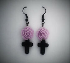 Black Cross, Pastel Goth Earrings with a Purple Rose. Gothic. Creepy Cute