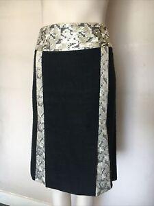 Dolce&Gabbana Made in Italy Black Gold Jacquard Straight Skirt D&G Size 44,UK12