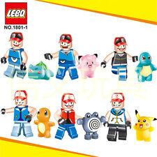 6 set pokemon go Set POKEMON Mini Figures PIKACHU Building Blocks Toys Fit Lego