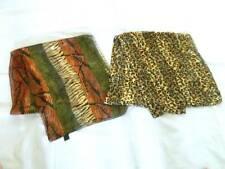 "Lot 2 Animal Scarves Nwot Shiny Both 13x60"" Polyester Multi Color & Leopard"
