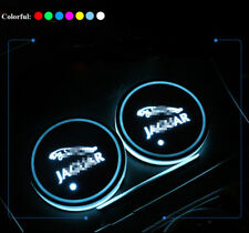 2xColorful LED Car Cup Holder Pad Mat for JAGUAR Auto Interior Atmosphere Lights