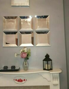 NEW DESIGN Set Of 3 Art Deco Style Square Mirrors Hallway Bedroom Silver Borders