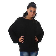 Sexy Fledermaus Oversize Sweatshirt Shirt Pulli Pullover 34 36 38 Schwarz