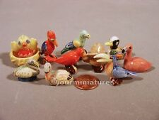 French Feve Porcelain  Miniatures Birds with Nests