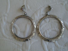 Antique Vintage Art Deco Silver Hoop Earrings