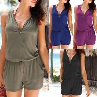 Fashion Zip Neck Pocket Playsuit Ladies Summer Shorts Jumpsuit Plus Size 6-24