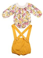 Bilo Baby Girl Long Sleeve Princess Flower Romper with Suspenders Outfit