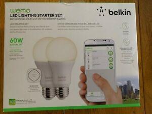 2 Ampoules Connectées LED Blanc / E27 / 60W / Belkin WeMo / Occasion / TB Etat