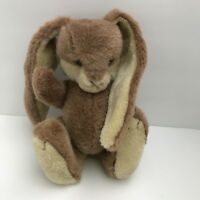 """Jointed Stuffed Lop Ears 10"""" Bunny Rabbit Plastic Brown Eyes"""