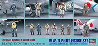 Hasegawa 1/48 W.W.II Pilot Figure Set Japanese German U.S. British Figures X48-7