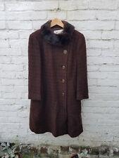 Vintage 1960s Eastex chocolate Wool Knee Length Winter Coat with fur collar