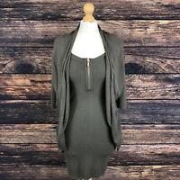 KAREN MILEN Green Khaki Knit Jumper Dress Size 1
