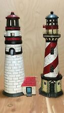 Pair of Cast Iron Lighthouses With Tea Light Candle Holder